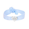 Girls Personalised Handwriting Heart Glitter Stretch Bead Bracelet