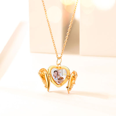 Angel Wings Photo Locket Necklace