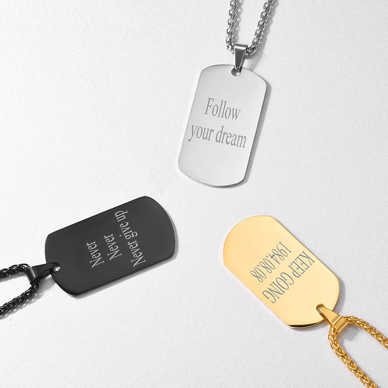 Custom Message Engraved Dog Tag, Personalized Men's Necklace, 316L Stainless Steel