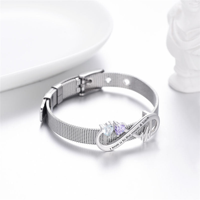 Reflections Birthstone Flat Mesh Bracelet Engraving Infinity Jewelry