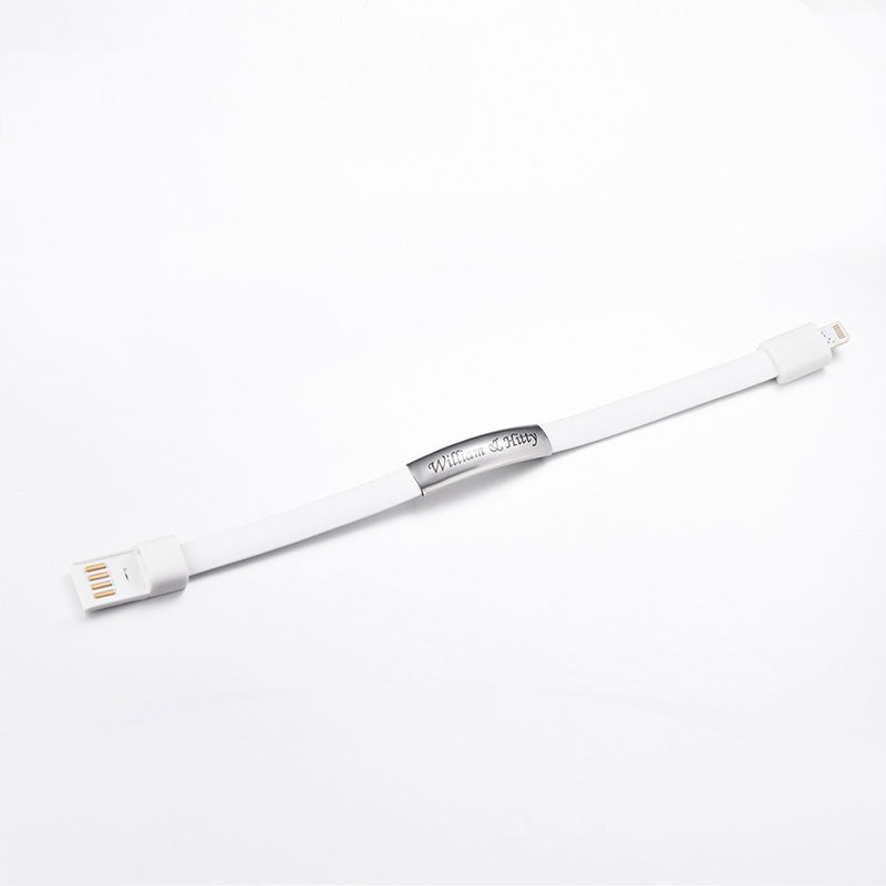 White Micro USB Charger Wristband for iPhone