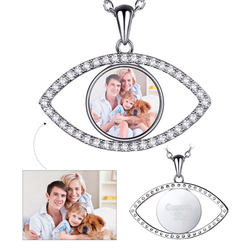 925 Sterling Silver Cubic Zirconia Evil Eye Personalized Photo Necklace