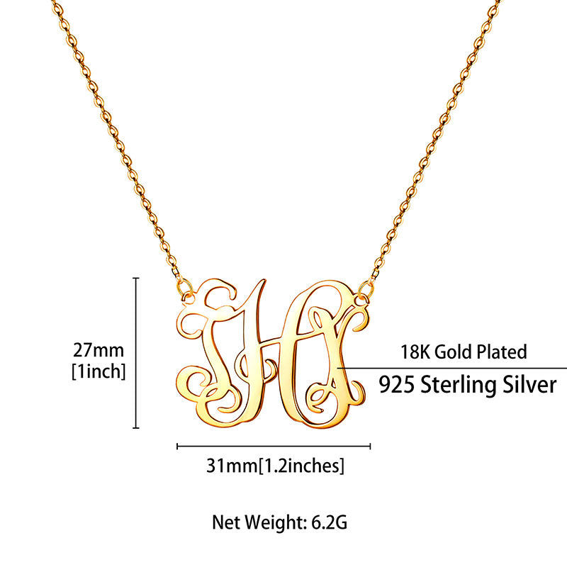 925 Sterling Silver Custom 3 Initial Fancy Script Monogram Necklace