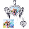 925 Sterling Silver Angel Wings Photo Engraved Custom Locket Necklace