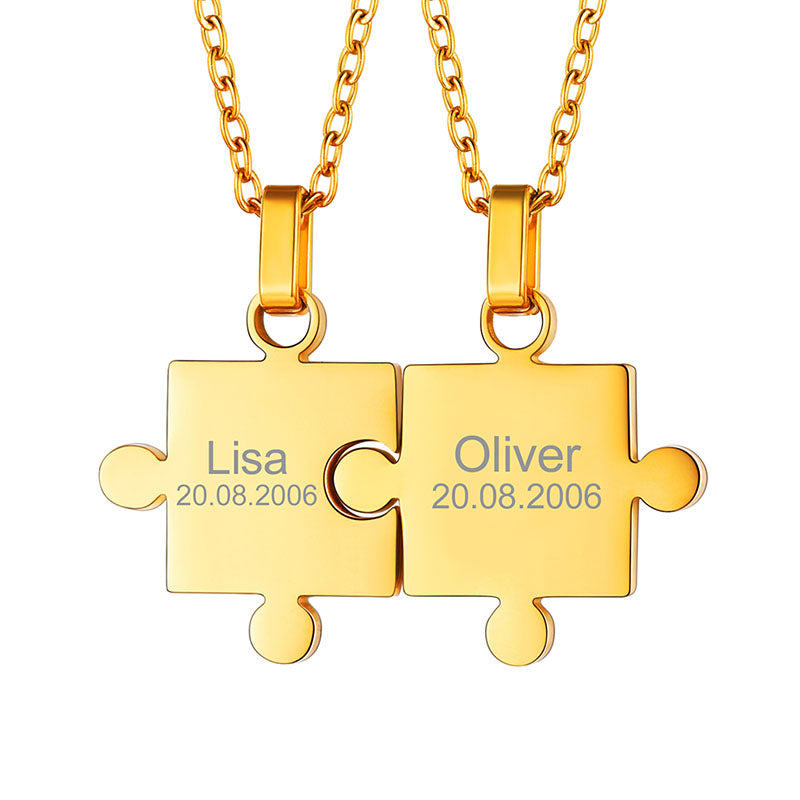 316L Stainless Steel Two Puzzles Friendship Necklace Couple Gifts