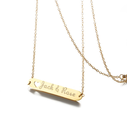 Stainless Steel Personalized Engraved Name Bar Necklace