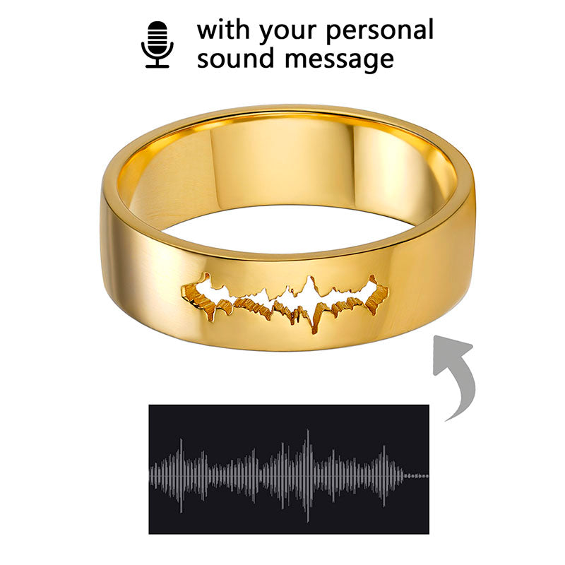 Personalized Voice Record Soundwave Ring Unique Waveform Jewelry Gifts