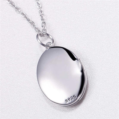 925 Sterling Silver Custom Oval Engraving Words Photo Locket Necklace