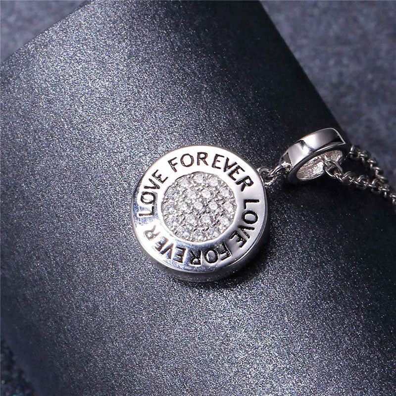 Cubic Zirconia Sliver Forever Love Personalized Photo Charm Necklace