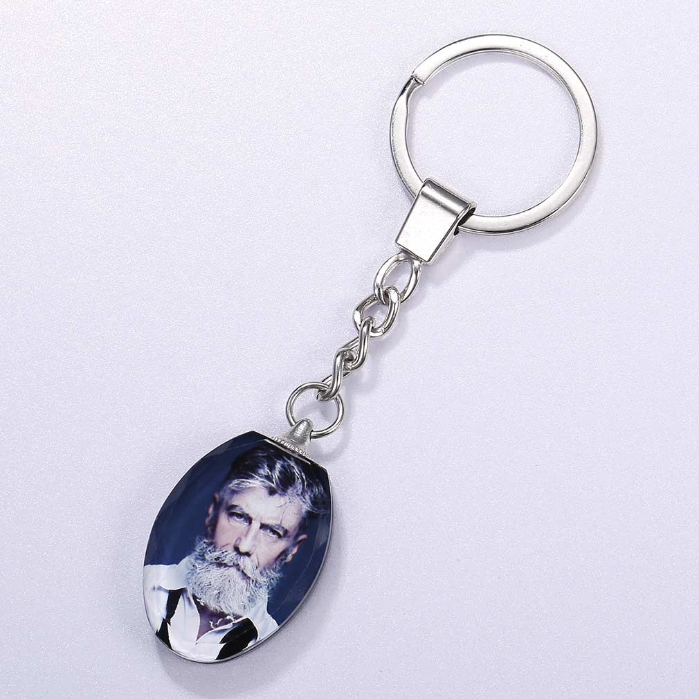 Two-Side Photo Engraved Crystal Oval Key Chain 316L Stainless Steel