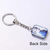 Stainless Steel Personalized Photo Engraved Crystal Square Key Chain