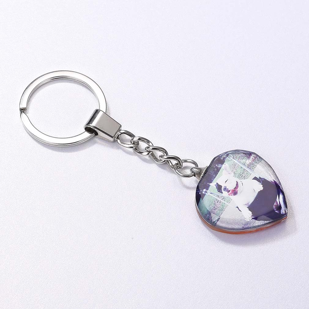 Personalized 316L Stainless Steel Photo Engraved Crystal Key Chain