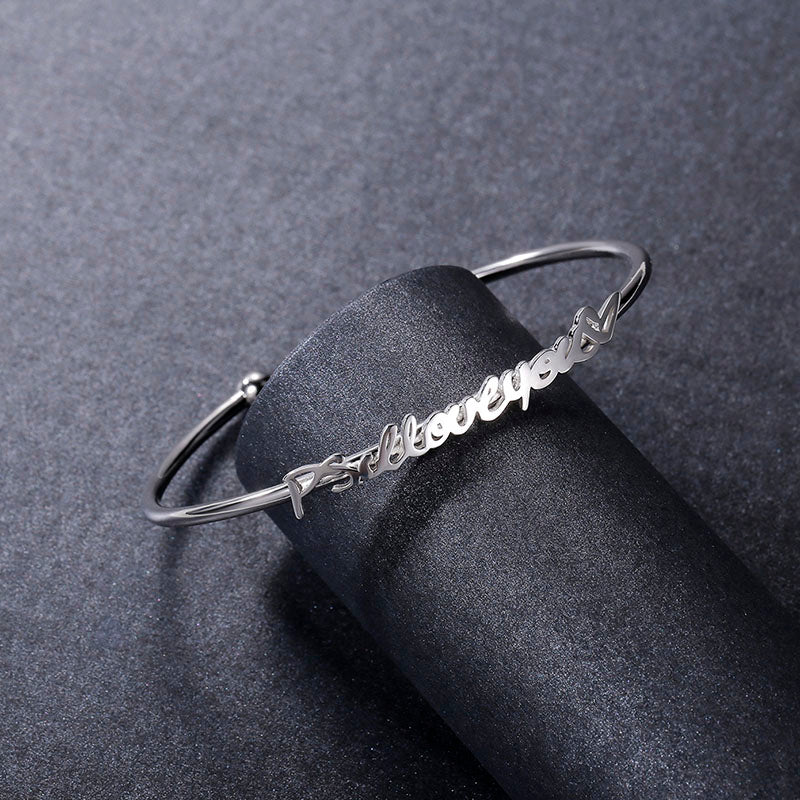 Custom Jewelry Actual Handwriting Bracelet Signature Bangle