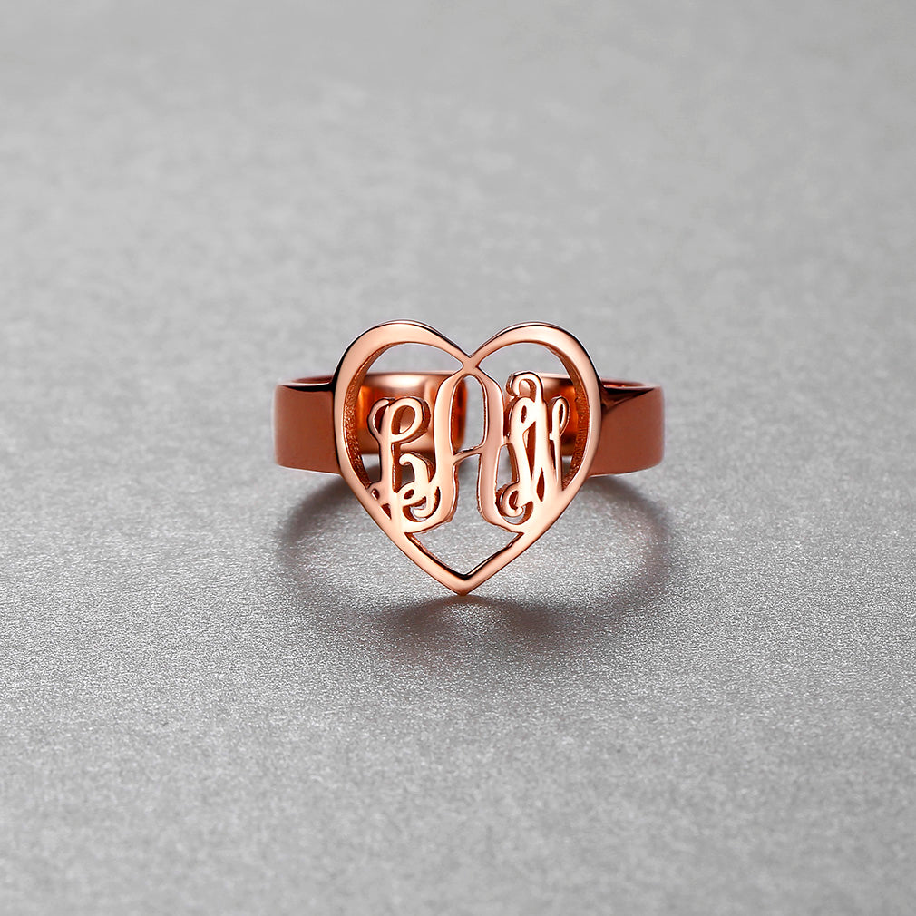925 Sterling Silver Fancy Script Monogram Ring Initial Adjustable Ring