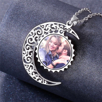 925 Sterling Silver Crescent Moon Personalized Photo Necklace For Her