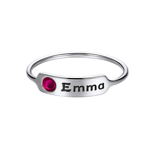 925 Sterling Silver Personalized Lucky Birthstone Engraving Ring