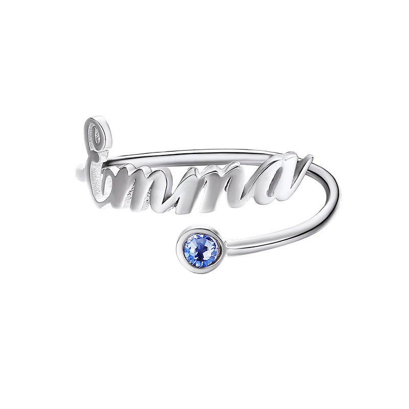 Birthstone Name Open Ring for Women, 925 Sterling Silver Personalized Letter Adjustable Engagement Band Ring