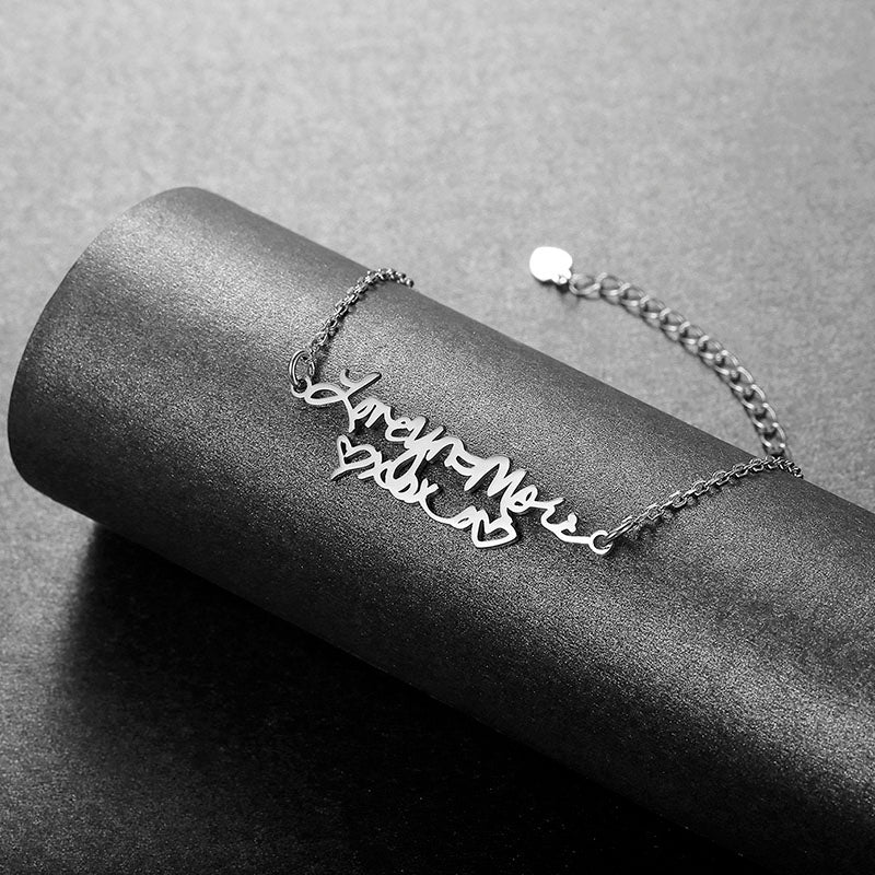 Silver Personalized Handwriting Signature Bracelet Memorial Gifts