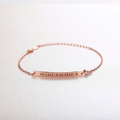 925 Sterling Silver Birthstone Personalized Engraving Bracelet For Her