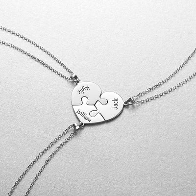 925 Sterling Silver Personalized Heart Three Puzzle Necklace Gifts
