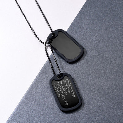 Stainless Steel Personalized Military ID Dog Tag US Army Style Necklace