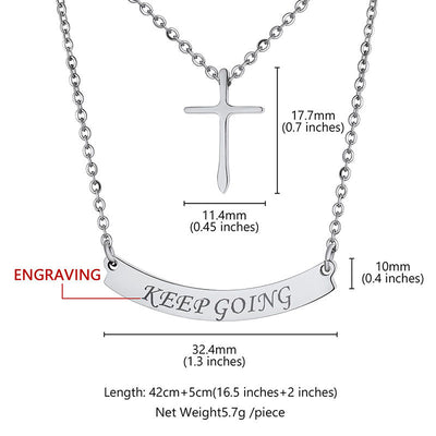 Personalized Two Layer Cross Bar Necklace Name Choker Gifts For Her