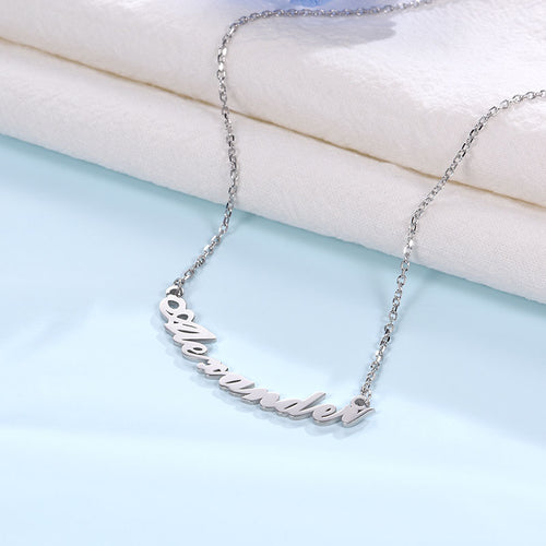Silver Personalized Curved Design Name Necklace