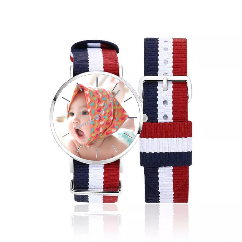 Red and Blue Nylon Personalized Engraved Photo Watch