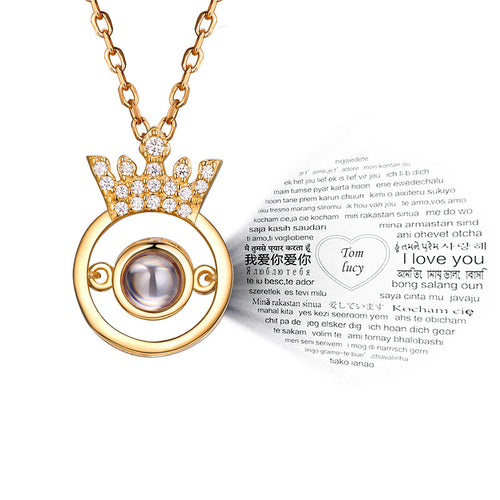 Crown 100 Different Languages to Show I Love You Nano Necklace For Her