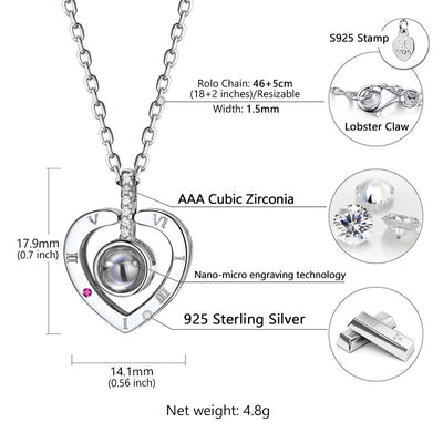 925 Sterling Silver 100 Ways to Show I Love You Necklace For Her