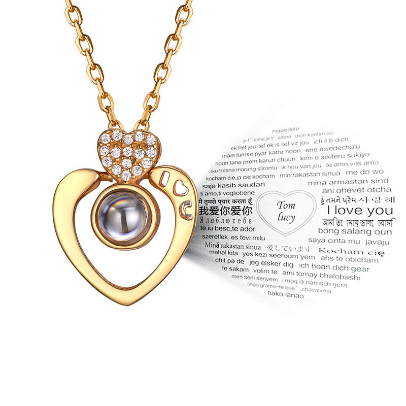 Personalized Heart I Love You In 100 Languages Nano Memory Necklace