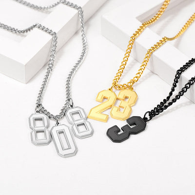Stainless Steel Engraving Baseball Fans Lucky Number Necklace For Men
