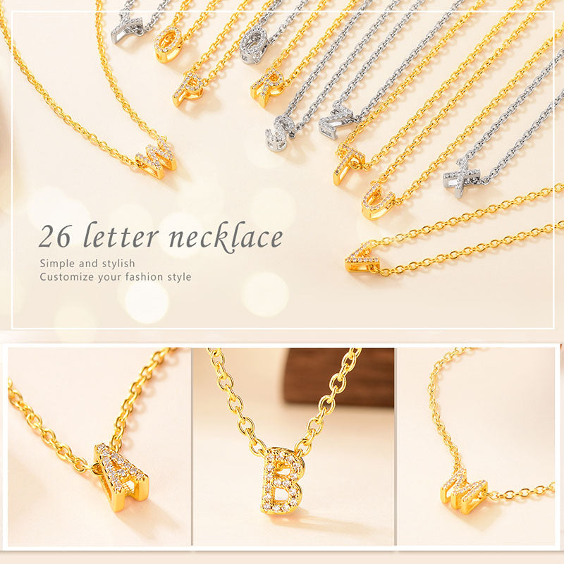 AAA+ Cubic Zirconia Tiny Personalized Letter Alphabet Initial Choker