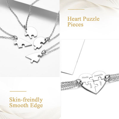 Best Friend Forever and Ever Heart Puzzle Four Necklace For BFF Gift
