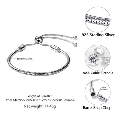 925 Sterling Silver  Personalized Adjustable Snake Chain Bracelet