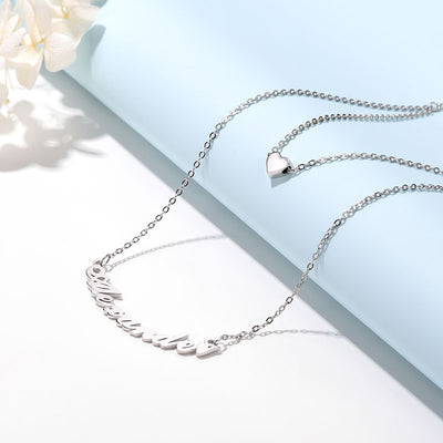 925 Sterling Silver Double Layer Curved Design Custom Name Necklace
