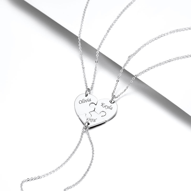 Cusotom4u Forever and Ever 3 Heart Puzzle Necklace For Best Friend Gift