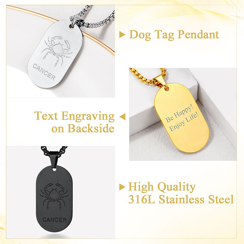 Custom4u Engraving 12 Constellation Dog Tag Zodiac Sign Necklace