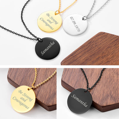 Custom4u Engraving Round ID Tag Necklace For Him Personalized Gifts