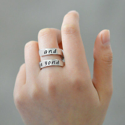 Custom4u Personalized Engraving Two Name Adjustable Spiral Twist Ring