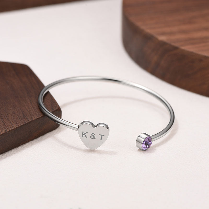 Engraving Heart Birthstone Bangle
