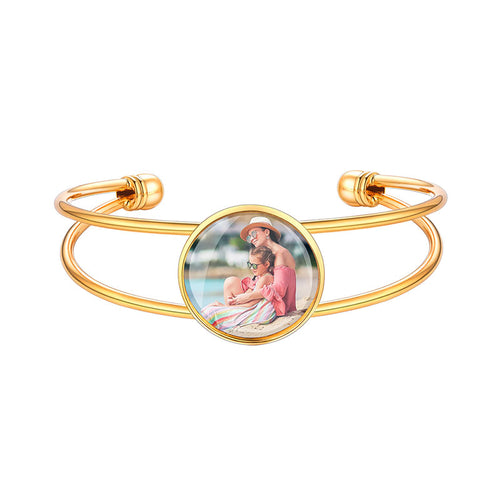 Custom4u Personalized Photo Engrave Bangle Women Unique Open Bracelet