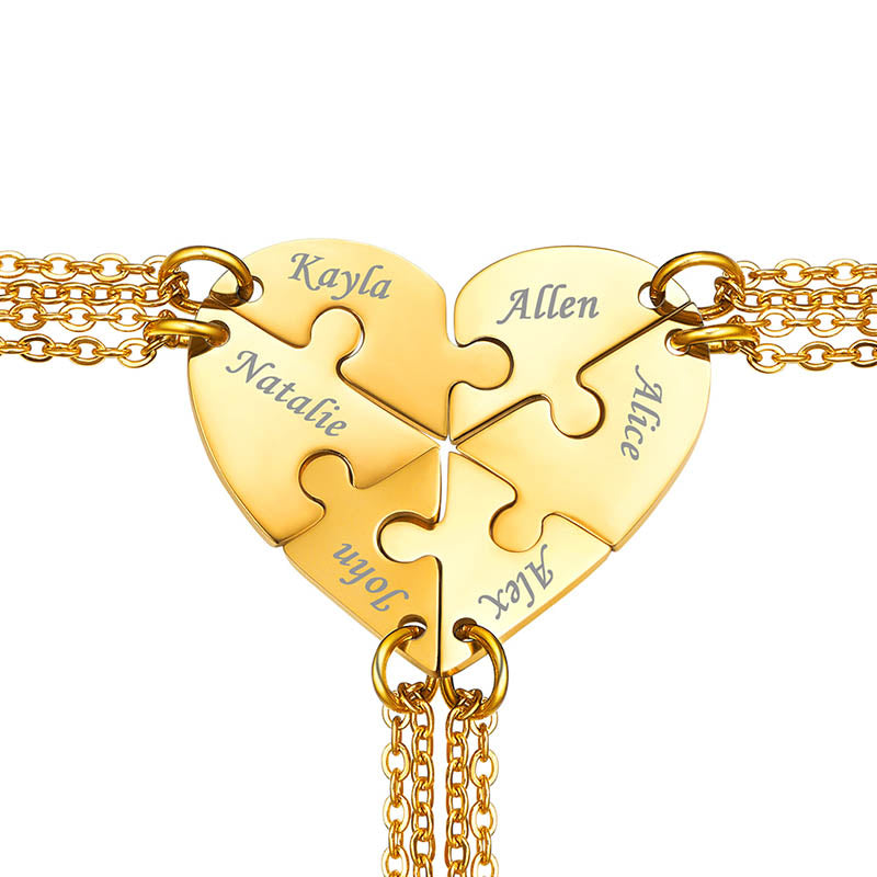 Custom4u Six Puzzles Heart Necklace for BFF Gifts For Bridesmaids