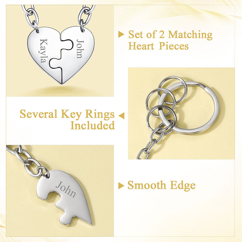 Two Souls One Heart Key Chain, 316L Stainless Steel Personalized Key Rings For Family