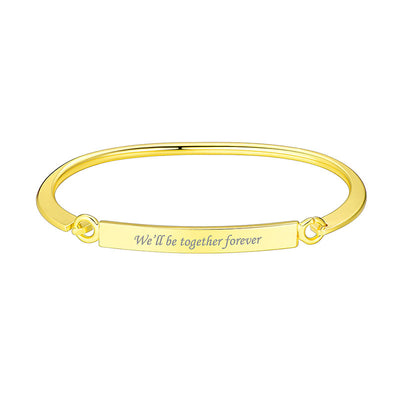 Custom4ufashion Engraved ID Bangle Bracelet Personalized Gifts For Her