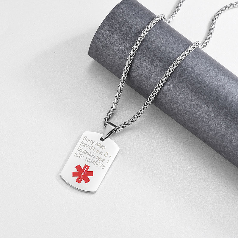 Emergency Identification Medical Alert ID Engraved Dog Tags For Him