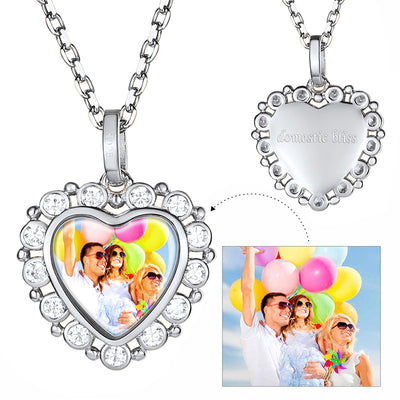 CZ 925 Sterling Silver Engraved Photo Necklace Personalized Gifts