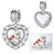 CZ Heart Personalized Charm Silver Photo Engraving Charm For Bracelet