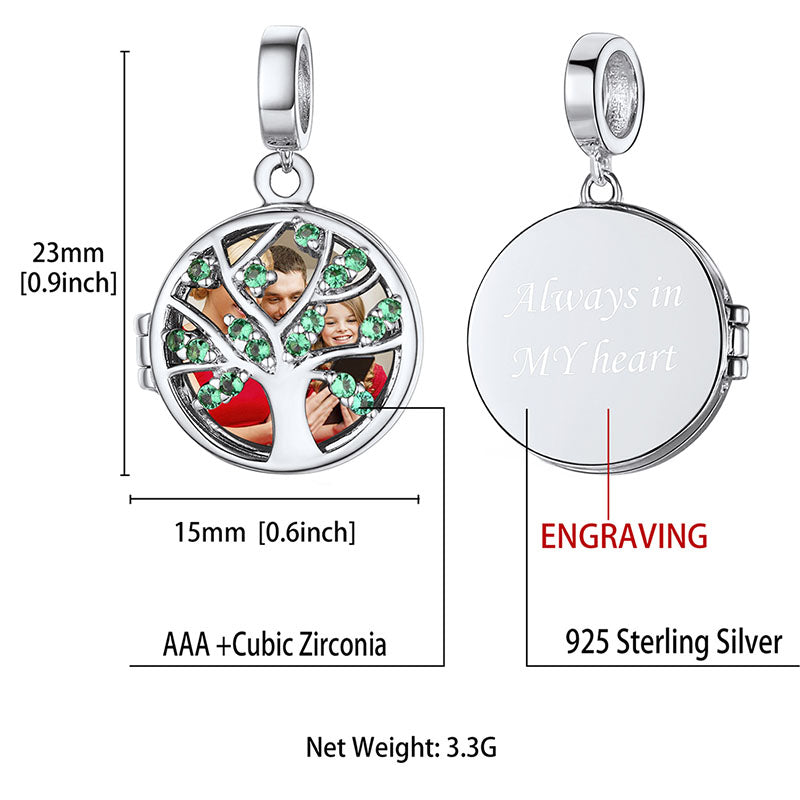 Family Tree of Life Charm Engraved Photo Locket Charm For Bracelet