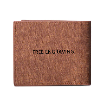 Genuine Leather Personalized Engraving Photo Name Bifold Men's Wallet